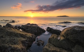 Picture the sun, stones, the ocean, dawn, morning, New Zealand, horizon, Waikato, Tairua
