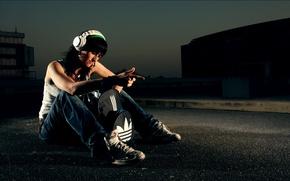 Picture girl, music, street, headphones