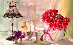 Picture flowers, lamp, bouquet, frame, girl, Cup, tulips, bow, lampshade