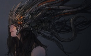 Picture girl, fiction, wire, figure, cables, art, tentacles, helmet, girl, cyberpunk, art, sci-fi, cyberpunk, pearls, wires, …