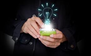 Picture light bulb, light, lights, creative, speed, positive, colorful, hi-tech, bokeh, smartphone, smartphone, wallpaper., technology, exchange, ...