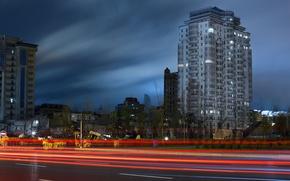 Picture road, the sky, line, the city, road, night, lines, baku, Baku