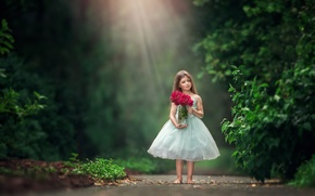 Picture flowers, roses, bouquet, barefoot, dress, girl, bokeh