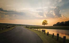 Picture road, the sky, landscape, sunset