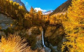 Picture France, Nature, Mountains, Waterfall, Autumn, Trees, Rock, Alps, Canyon, Landscape