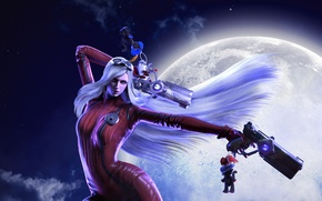 Picture girl, night, the moon, guns, witch, the full moon, Platinum Games, Bayonetta, Umbra Witch, Jeanne, …