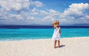 Picture sea, beach, shore, surf, girl