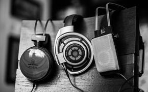 Picture grey, music, Headphones
