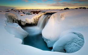 Picture morning, gorge, snow, ice, winter, river
