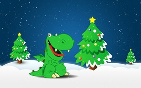 Picture snow, holiday, dragon, tree, new year