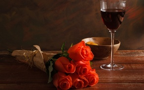 Picture table, wine, red, glass, roses, bouquet, red, dried apricots