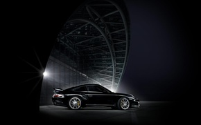 Wallpaper The city, night, Porsche, black