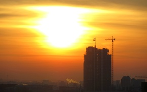 Picture The sun, The sky, Construction, Dawn, High-rise building, Minsk