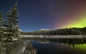 Picture the sky, trees, mountains, lake, reflection, Northern lights, Canada, Albert, Alberta, Canada, Canadian Rockies, Canadian …