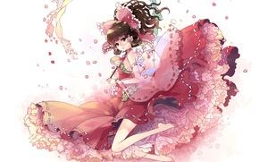 Picture girl, figure, petals, dress, touhou, hakurei reimu, kieta