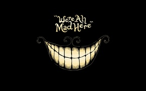 Picture Cheshire cat, black background, madness, Alice in Wonderland