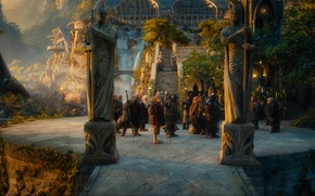 Picture dwarves, stage, statues, Rivendell, Rivendell, The hobbit, The Hobbit, An unexpected journey, An Unexpected Journey, ...