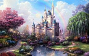 Picture lake, castle, garden