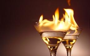 Wallpaper alcohol, glasses, fire