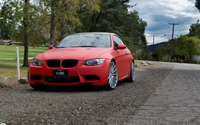 Picture BMW, Red, Matte, Stance, Wheels