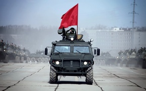 Picture Tiger, flag, May 9, GAZ-233014, Alabino, rehearsal, victory parade