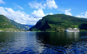 Picture forest, landscape, nature, ship, home, Norway, Norway, sogneford, liner., Goa
