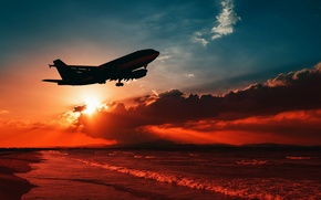 Wallpaper sea, the sky, clouds, flight, landscape, the plane, coast, silhouette, glow, airliner