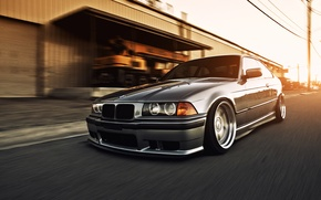 Picture road, the sun, sunset, street, the building, bmw, BMW, speed, the evening, the asvaltu