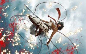 Picture the sky, squirt, jump, blood, swords, military uniform, fanart, Shingeki no Kyojin, Mikasa Ackerman, drive, …