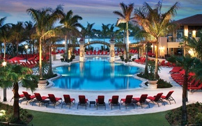Picture palm trees, pool, house, pool, sunbeds, evening.