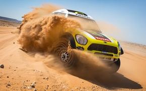 Picture sand, the sky, Mini, skid, Racing, racing car, Mini, All4