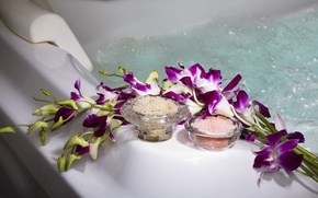 Picture water, flowers, pool, crystals, orchids, pool, water, flowers, Spa, salt, spa, orchids, salt, bowl, gentle ...