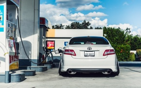 Picture dressing, back, white, white, toyota, Toyota, camry, Camry, stance