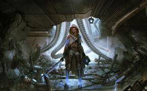 Picture girl, robots, art, sci-fi, Cyberpunk