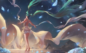 Picture the sky, water, girl, stars, sunset, flowers, mountains, nature, anime, art, vocaloid, hatsune miku, chiwa, …