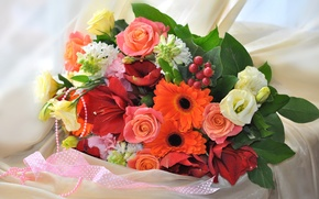Picture roses, bouquet, gerbera, hyacinth, eustoma, there