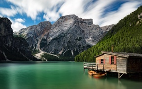 Wallpaper mountains, lake, boats, Italy, house, Italy, The Dolomites, South Tyrol, South Tyrol, Dolomites, Lake Braies, ...