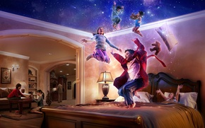Wallpaper bed, stars, children, tale