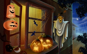 Picture light, night, window, Halloween, pumpkin, Halloween, lanterns