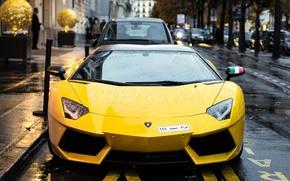 Picture Lamborghini, Paris, France, V12, Yellow, LP700-4, Aventador, Supercar