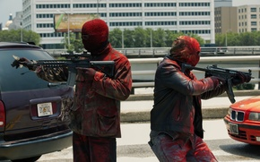 Picture weapons, paint, mask, machines, the robbers, Three nines, Triple 9