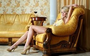 Picture girl, yellow, sofa, wine, interior, chair, blonde, photographer, shoes, corset, gold, sitting, Catherine Tokaeva, Dmitry …