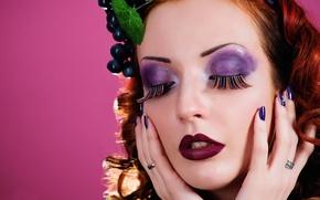 Picture background, portrait, makeup, grapes, Grape mood