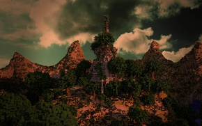 Picture the sky, grass, clouds, trees, mountains, blocks, Minecraft