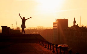 Wallpaper roof, girl, joy, city, girls, mood, view, height, home, morning, hands, roof