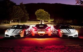 Picture night, F430, Ferrari, white, 458, front, Scuderia, rear, Italia