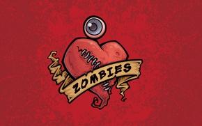 Wallpaper eyes, heart, figure, zombies, zombie