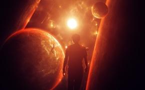 Picture the sun, space, planet, art, male, silhouette, abikk