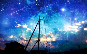 Picture the sky, stars, clouds, the city, sunrise, posts, wire, home, anime, art, asuka