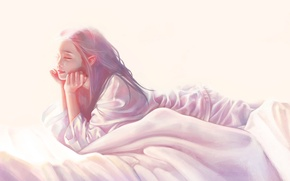 Picture light, elf, bed, Girl, lies, pajamas, ears, closed eyes